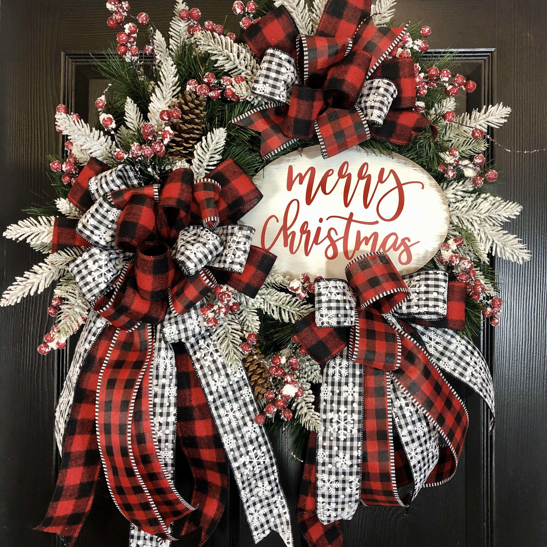 Ready to Ship! Front Door Christmas Christmas Wreath Deco Mesh Wreath Wreaths Black and Red Wreath Buffalo Plaid