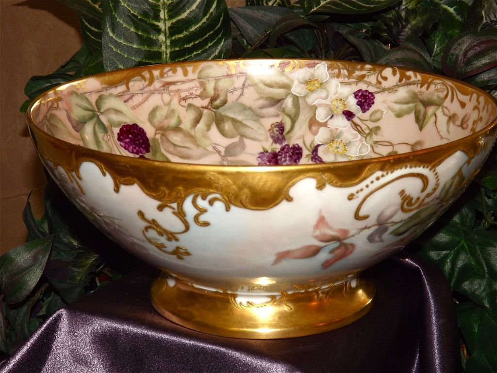 Limoges Gorgeous Blackberry Footed Punch Bowl with Heavy Gold Work from allthingslovelee on Ruby Lane