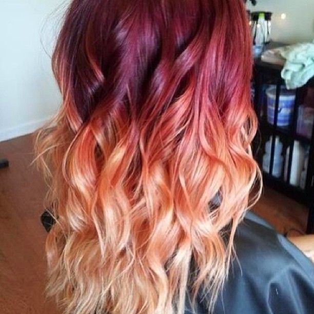 Tumblr Hair Ombre Red Color Wavy Red Ombre Hair Hair