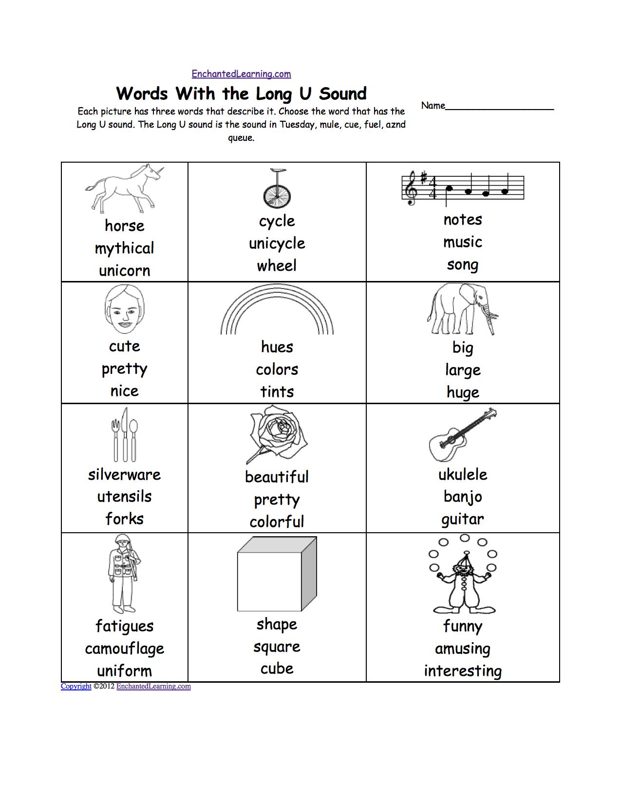 Long U Alphabet Activities At Enchantedlearning