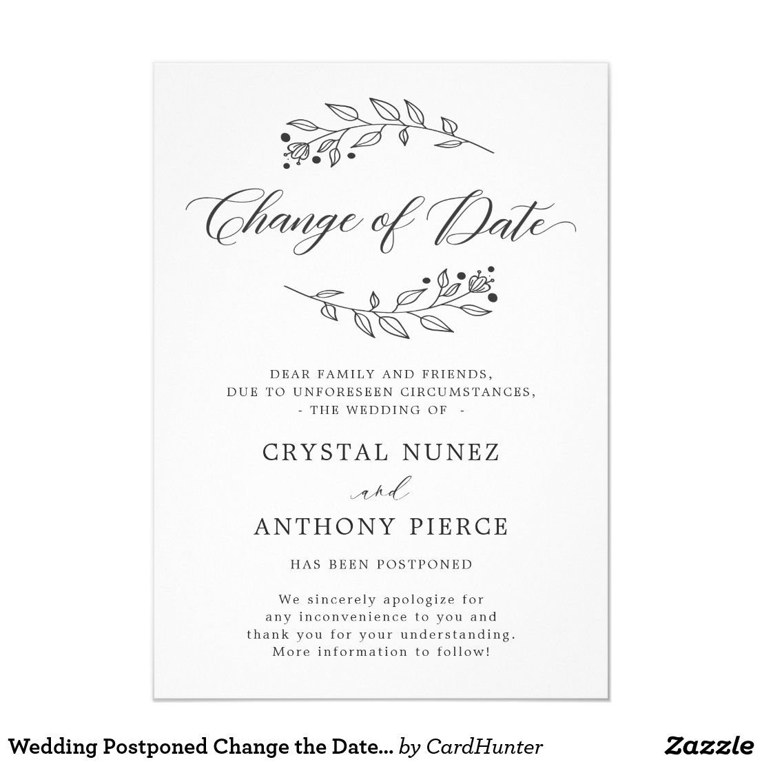 Wedding Postponed Change The Date Announcement Zazzle Com In 2020 Wedding Announcements Wording Wedding Announcements Templates Cheap Wedding Invitations