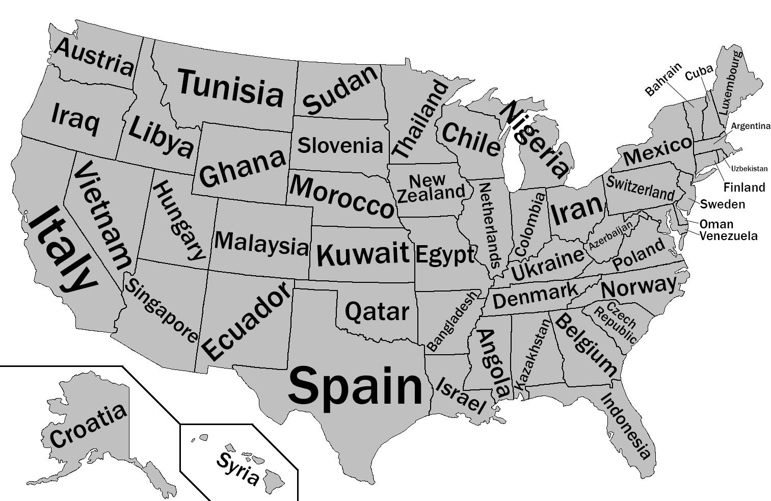 Another map with states labeled as similar GDP countries. | Maps ...