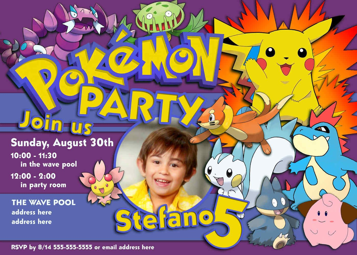 image relating to Free Printable Pokemon Invitations referred to as Totally free printable invitation Pokemon Pokemon celebration