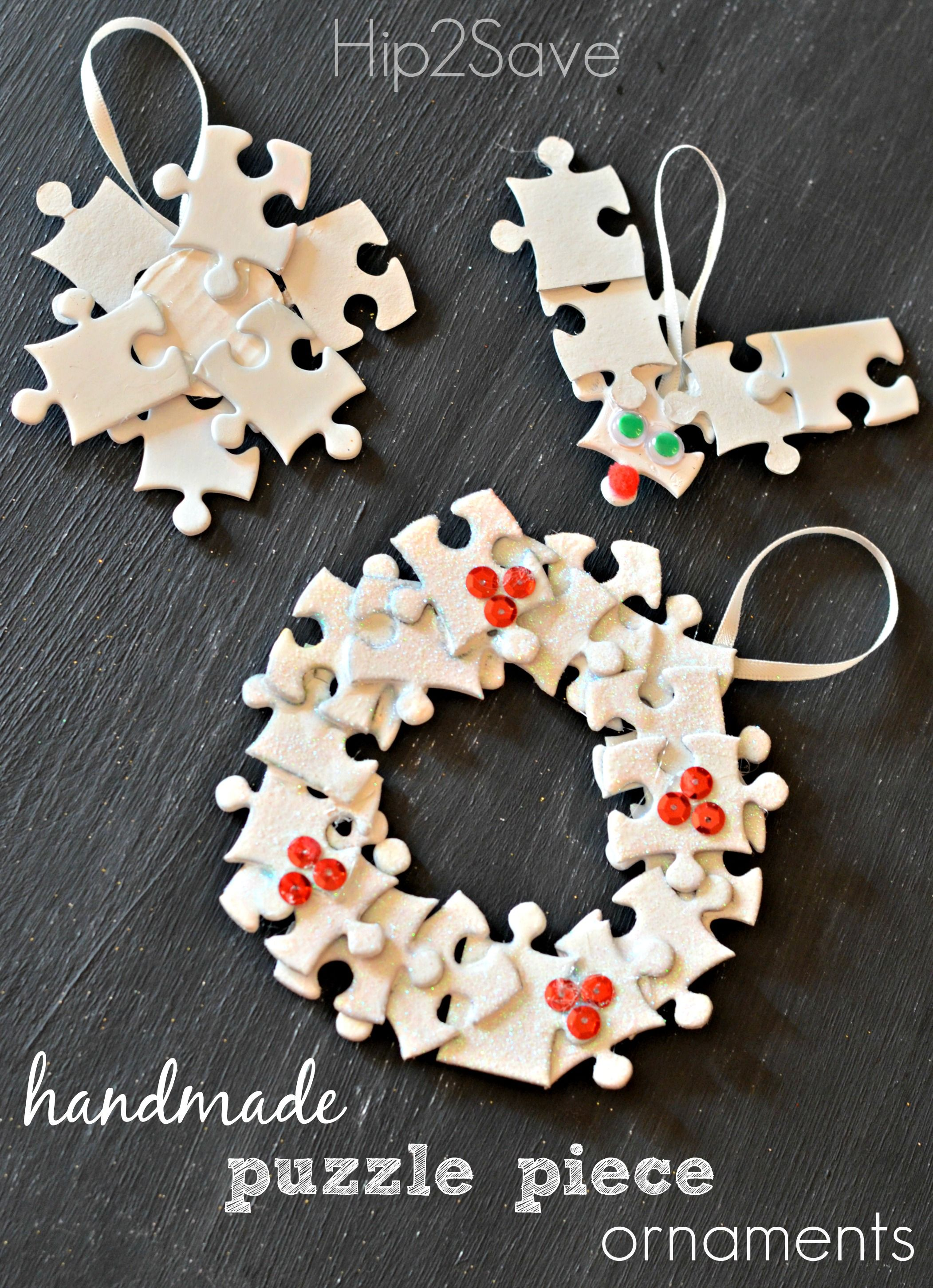 Handmade Puzzle Piece Ornaments (Easy Holiday Craft) via Hip2Save: It's Not Your Grandma's Coupon Site!