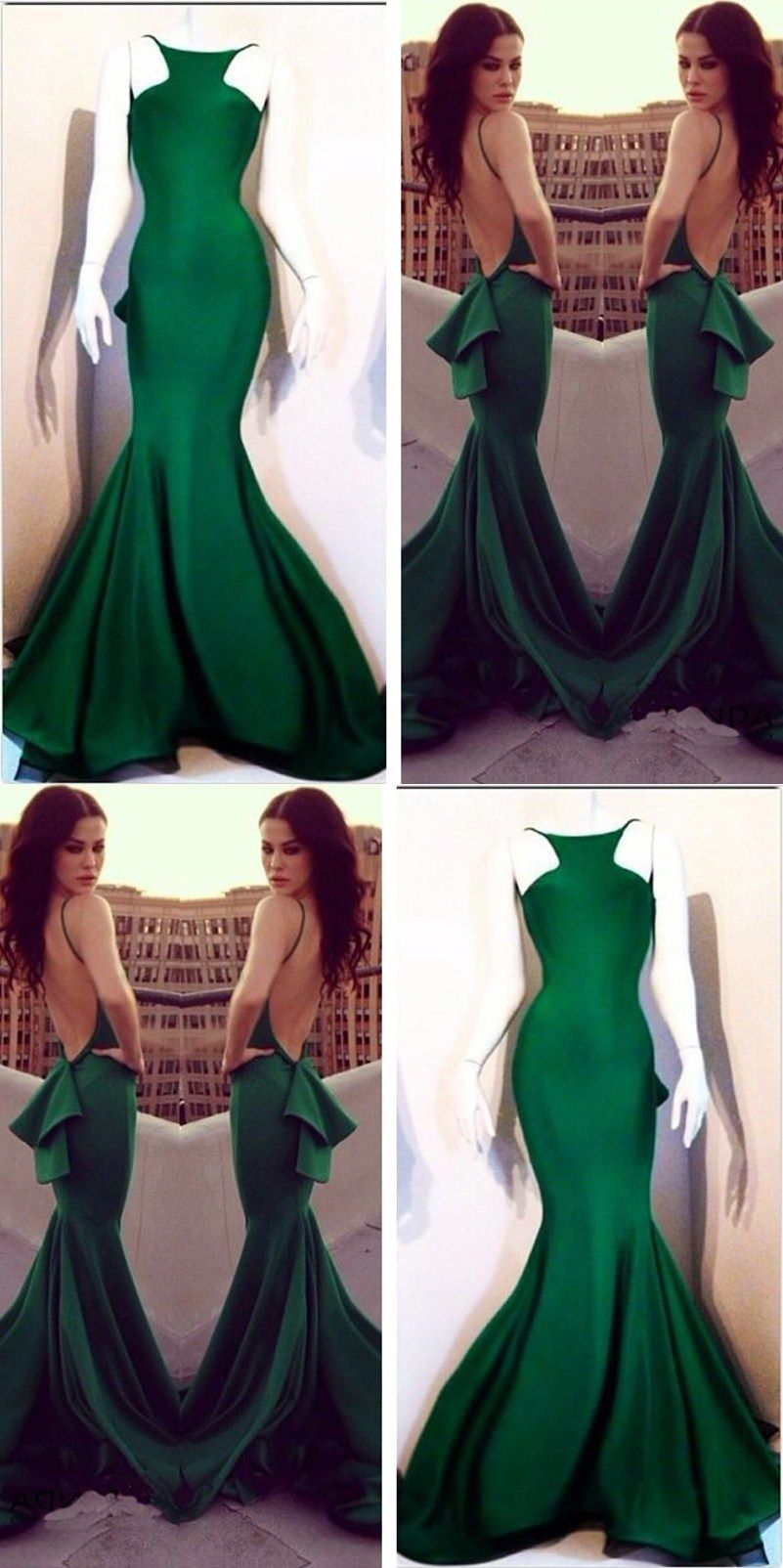 Mermaid scoop backless dark green elastic satin prom dress with