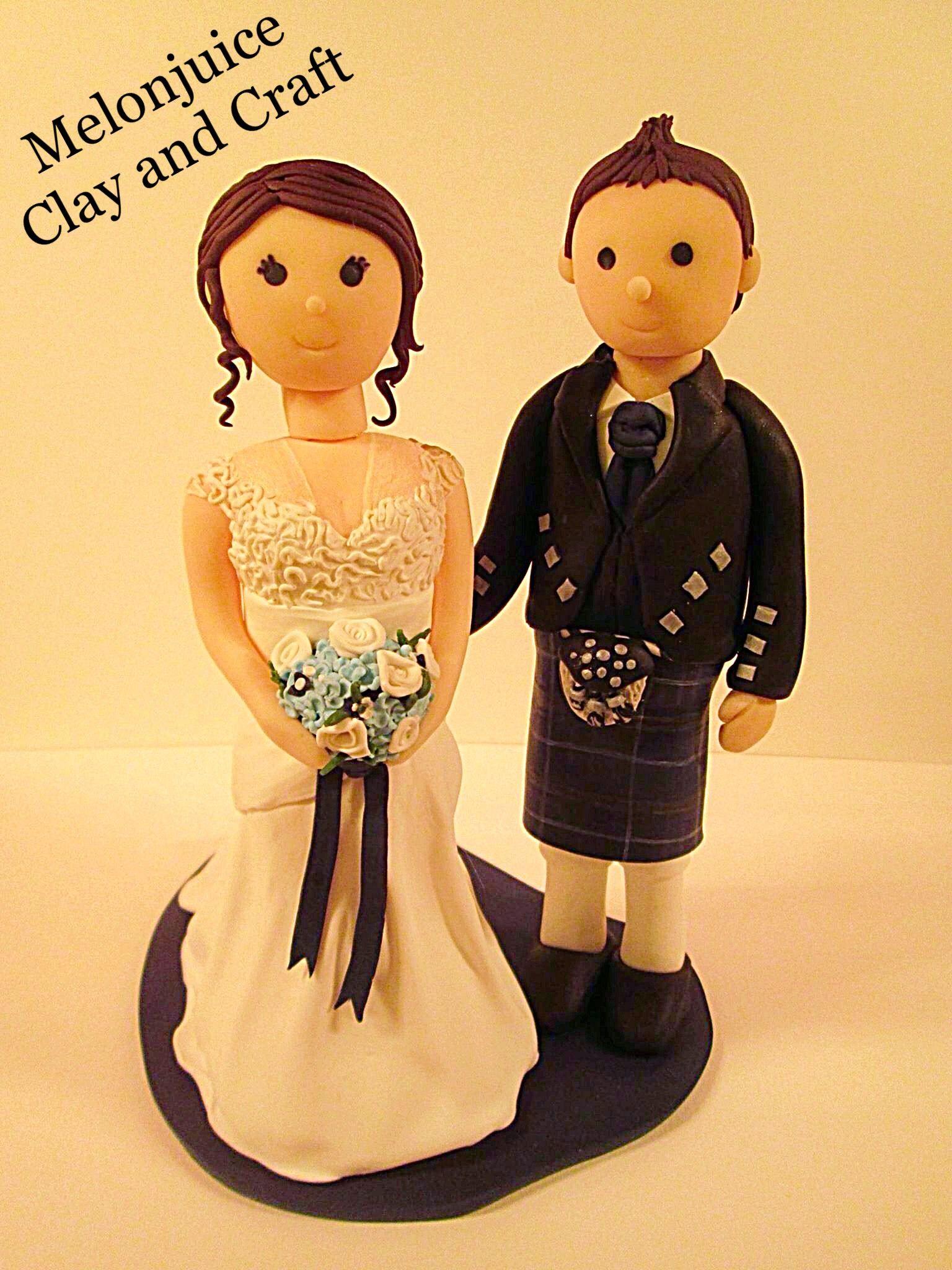 Polymer clay wedding cake topper custom order Lace dress, tartan ...