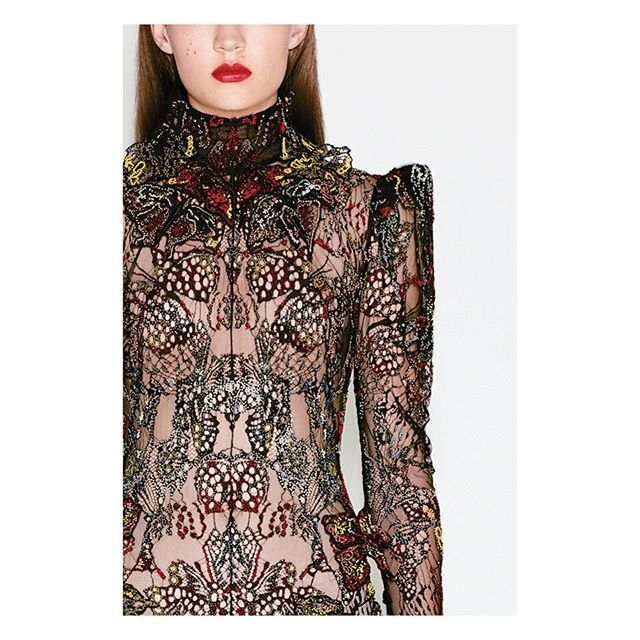 THREE DIMENSIONAL LACE: This Sakae lace gown is embroidered with the beating wings of three dimensional butterflies. #AlexanderMcQueen #McQueenCraft
