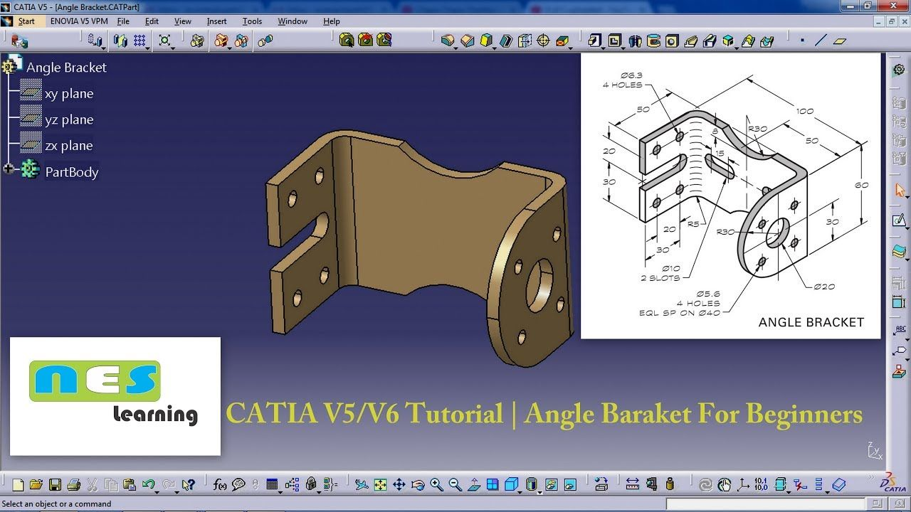 catia v5 v6 tutorial angle baraket for beginners new catia rh pinterest com catia v5 training material pdf catia v5 training manuals pdf