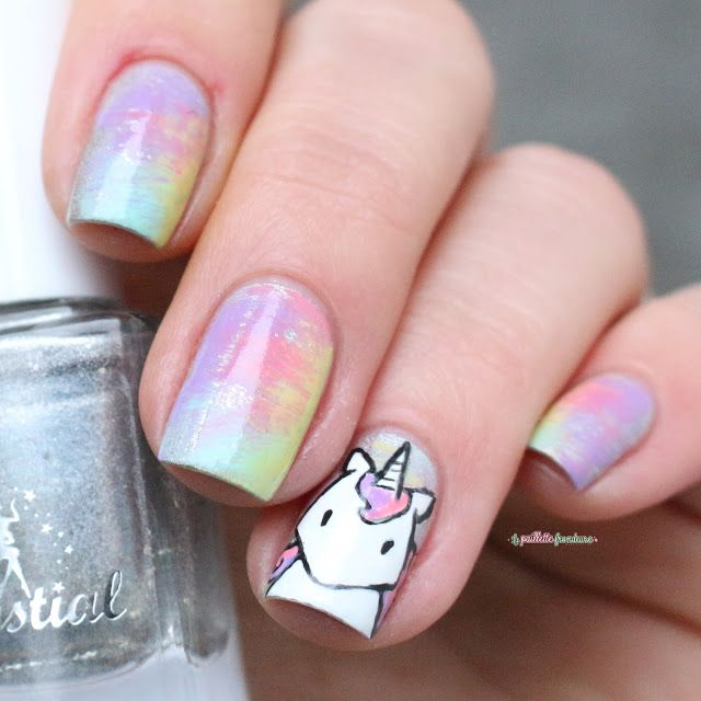 Paint All The Nails Presents Dry Brush kawaii unicorn rainbow nail ...
