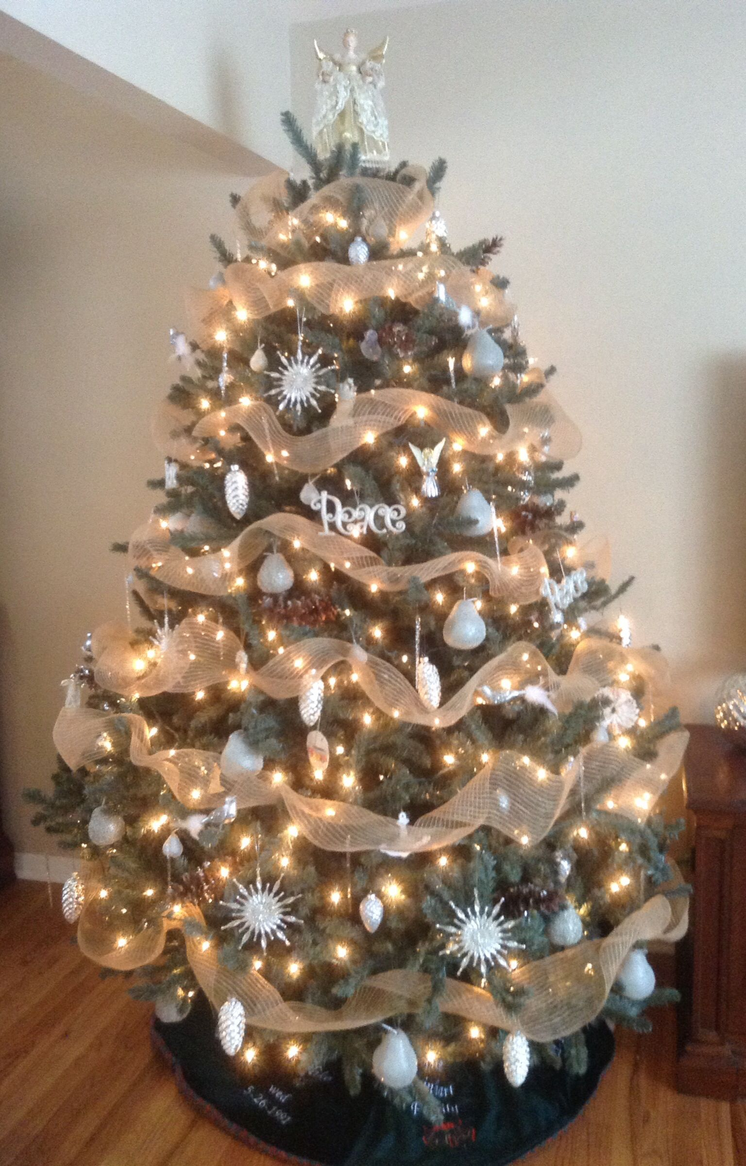 my christmas tree burlap garland silver white mercury. Black Bedroom Furniture Sets. Home Design Ideas