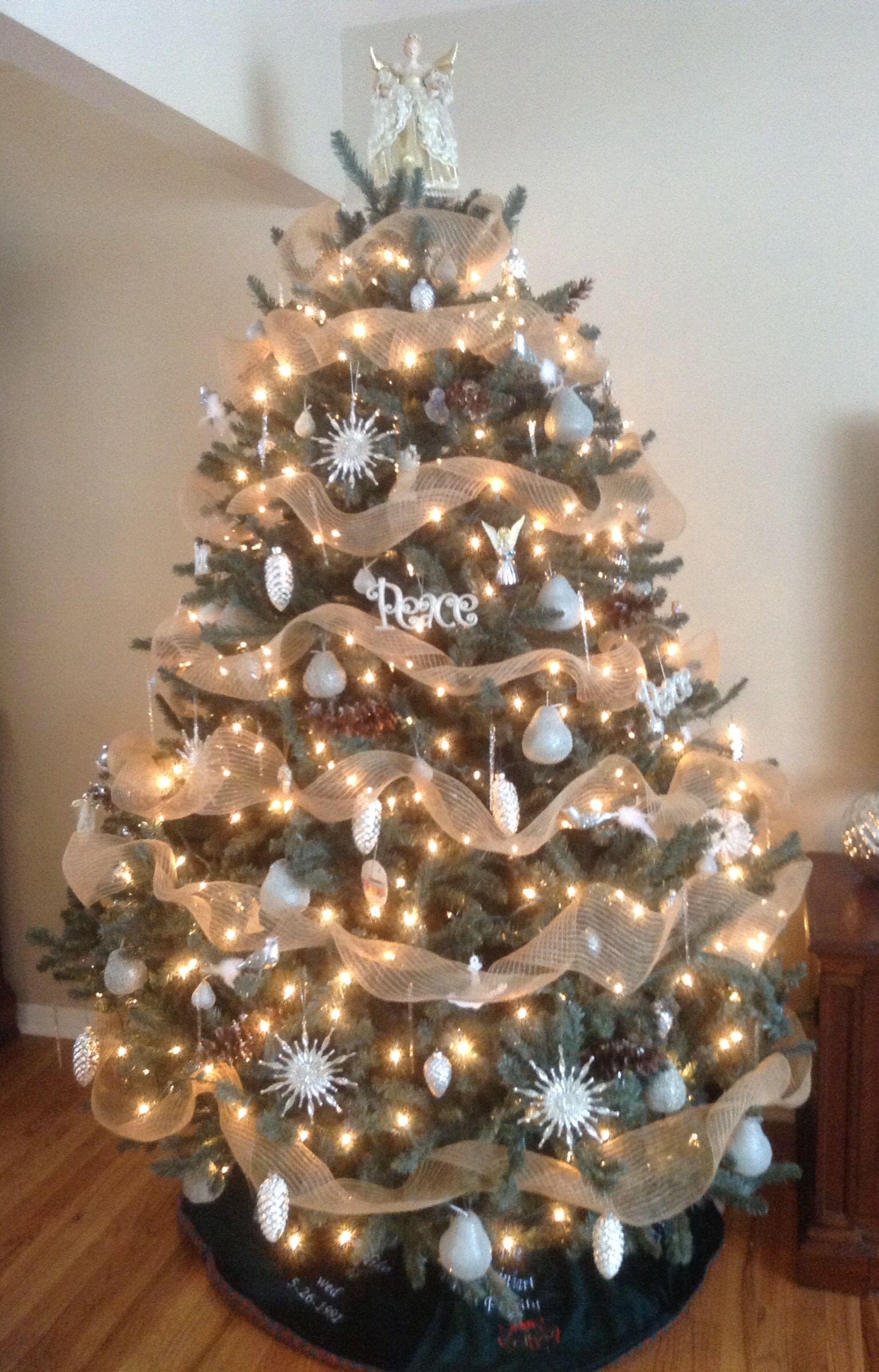 My Christmas Tree Burlap Garland Silver White Mercury Glass
