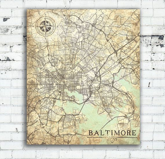BALTIMORE MD Canvas Print Maryland Vintage map Baltimore Md Vintage
