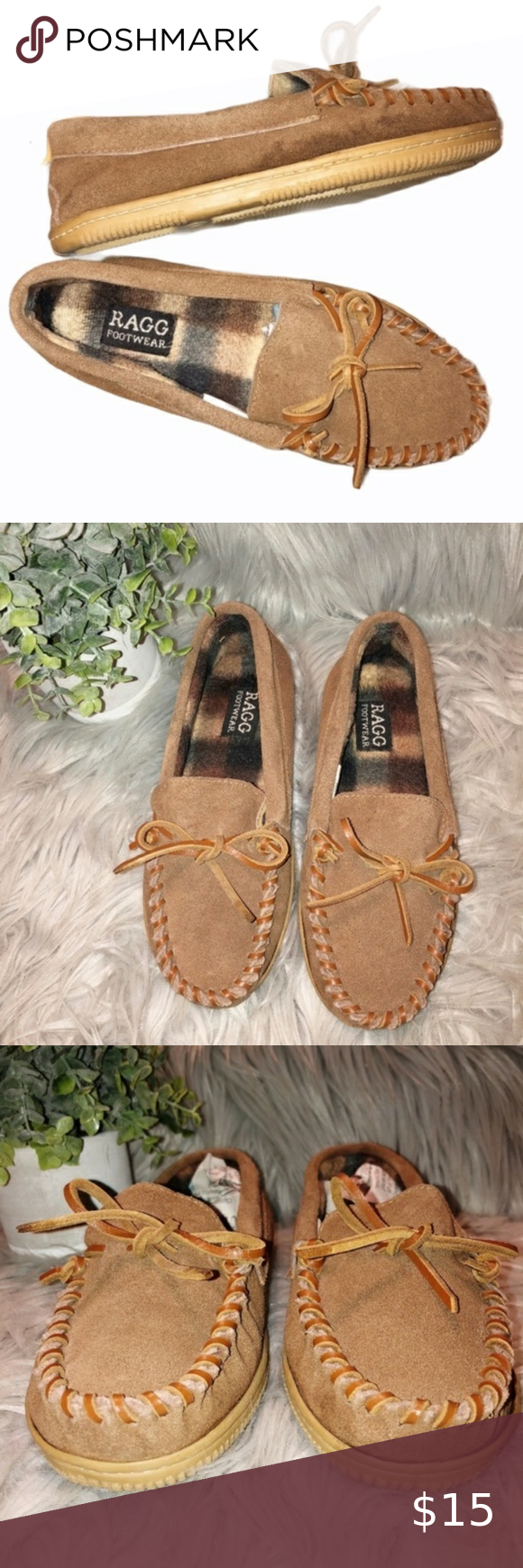 Ragg Footwear Brown Leather Moccasin Slides 2 In 2020 Leather Moccasins Leather Moccasins