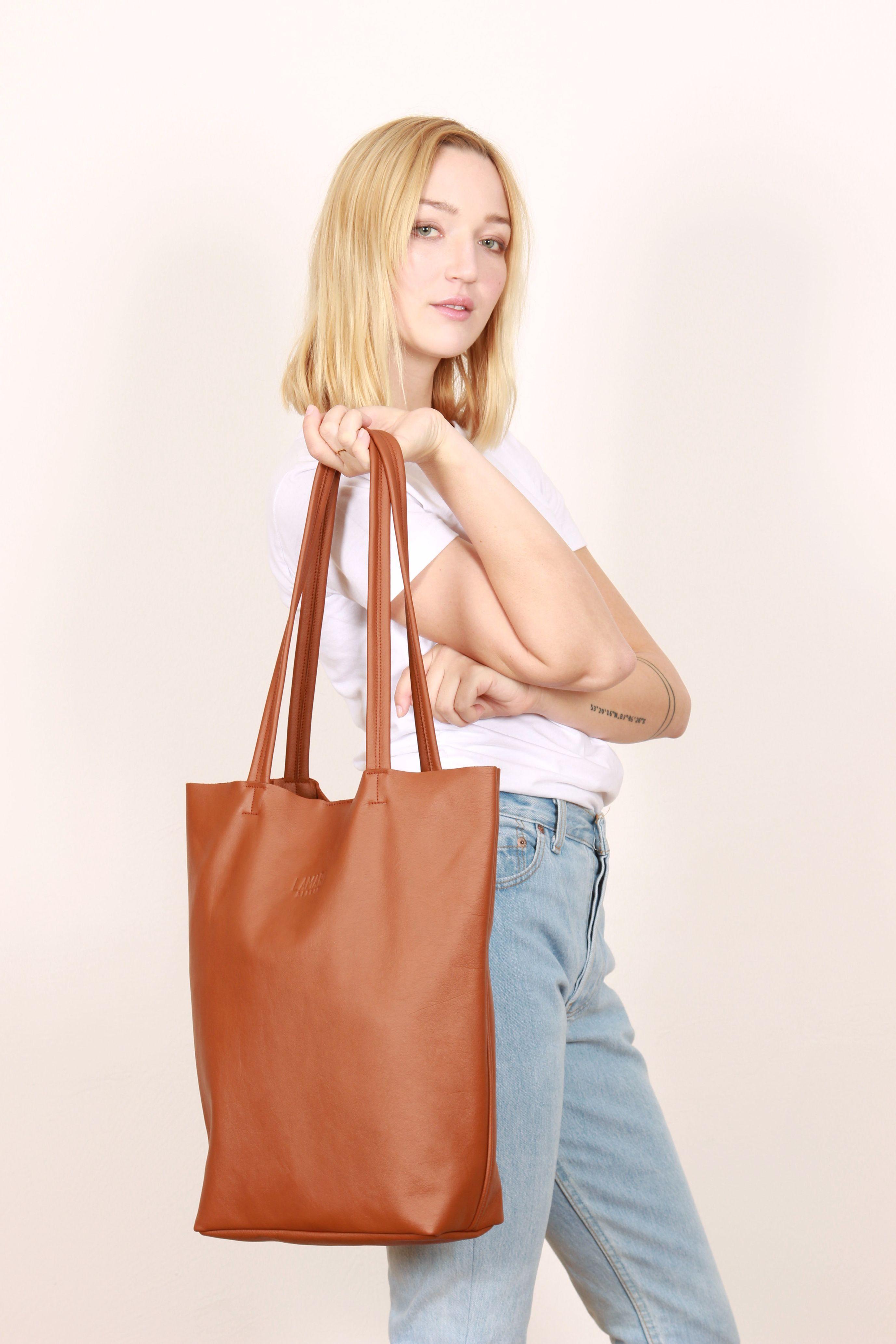 749a0ff5ee3de  Ledertasche Cognac   Leder TOTE BAG  Big leather bag  brown Tote Bag   Brown Shopper  Shopper Cognac