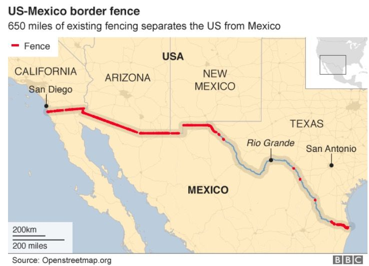 here is the wall map that the us will build along usa and on border wall id=20555