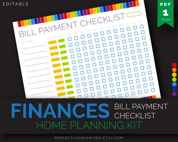 Monthly Bill Payment Tracker, Bills Due Date Checklist, Payday - bill organizer chart