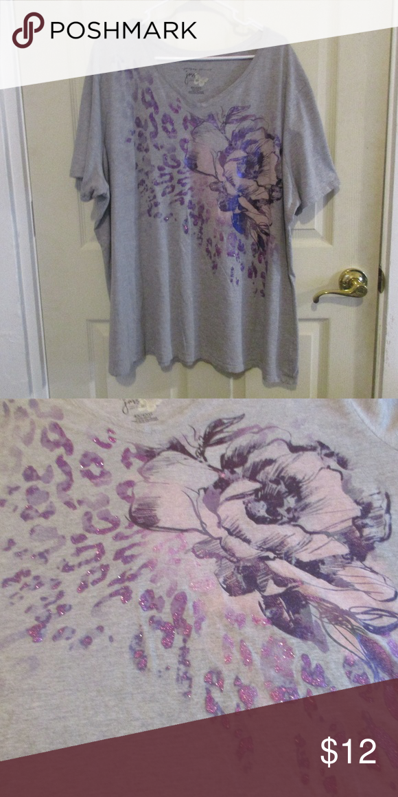JMS Just My Size Women Plus 4x 5x Navy Blue Purple Glitter Tee T Shirt Top