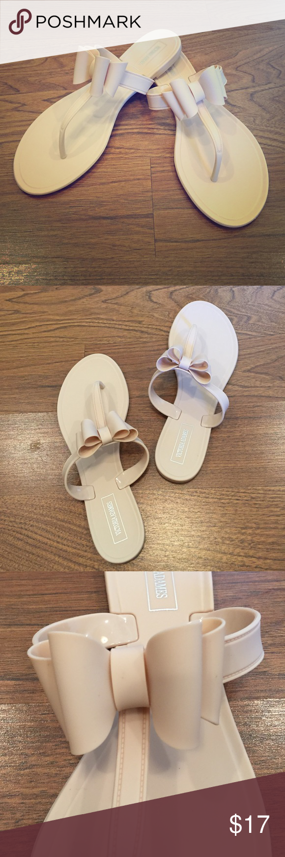 3b3647b535bb NEW Victoria Adames Nude Jelly Sandals With Bow Adorable nude jelly sandals  with bow detail.
