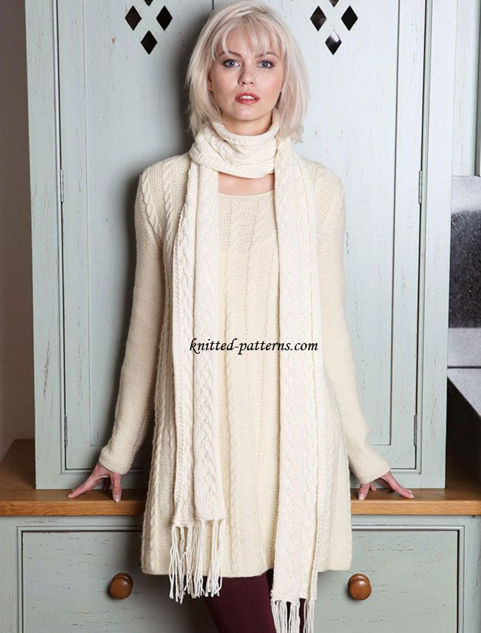 Cable Jumper Dress And Scarf Free Knit Patterns Knitting