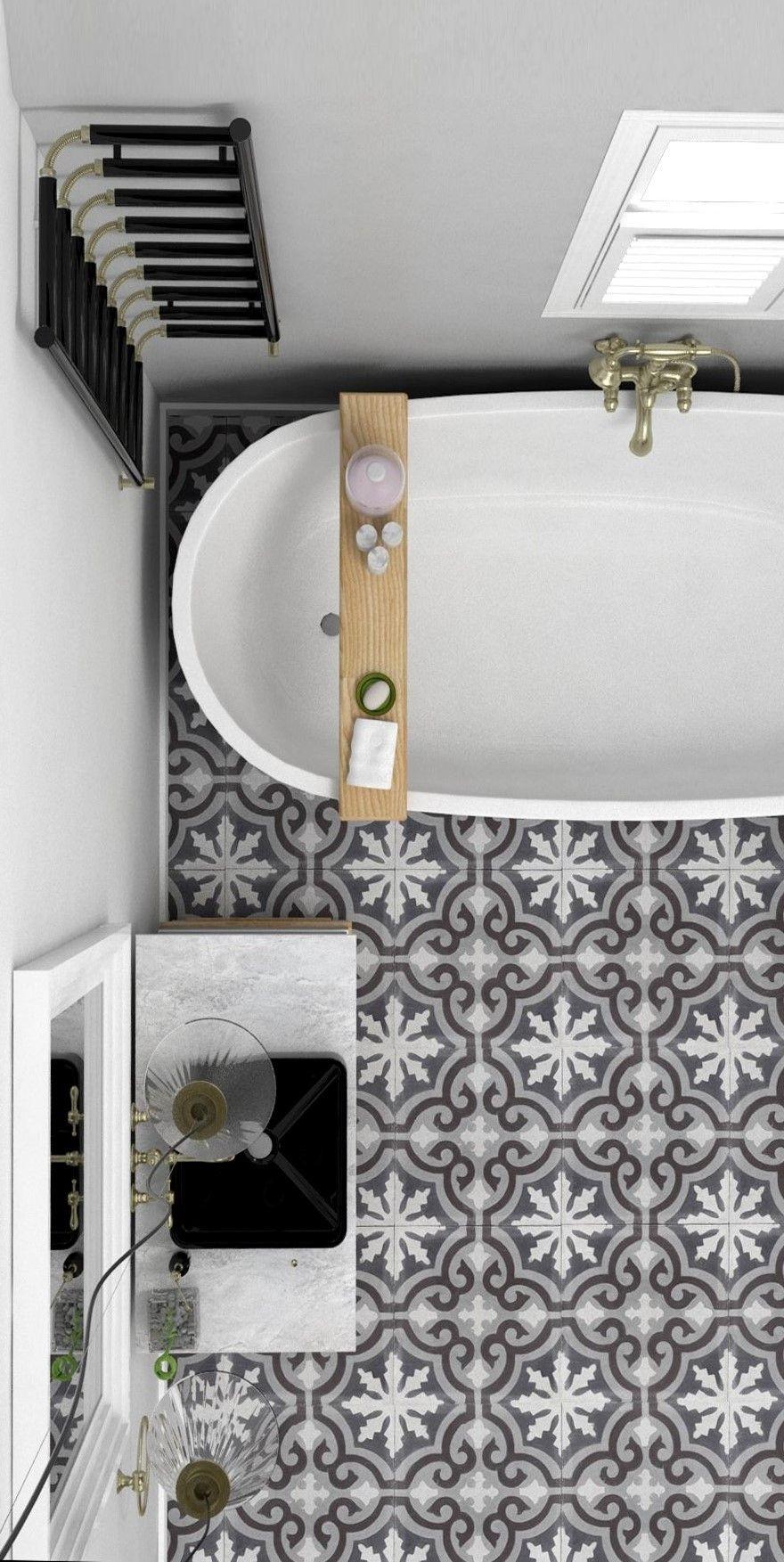 Badezimmerideen. Tolle Bodenfliesen mit ornamentalem Muster. #bad ...