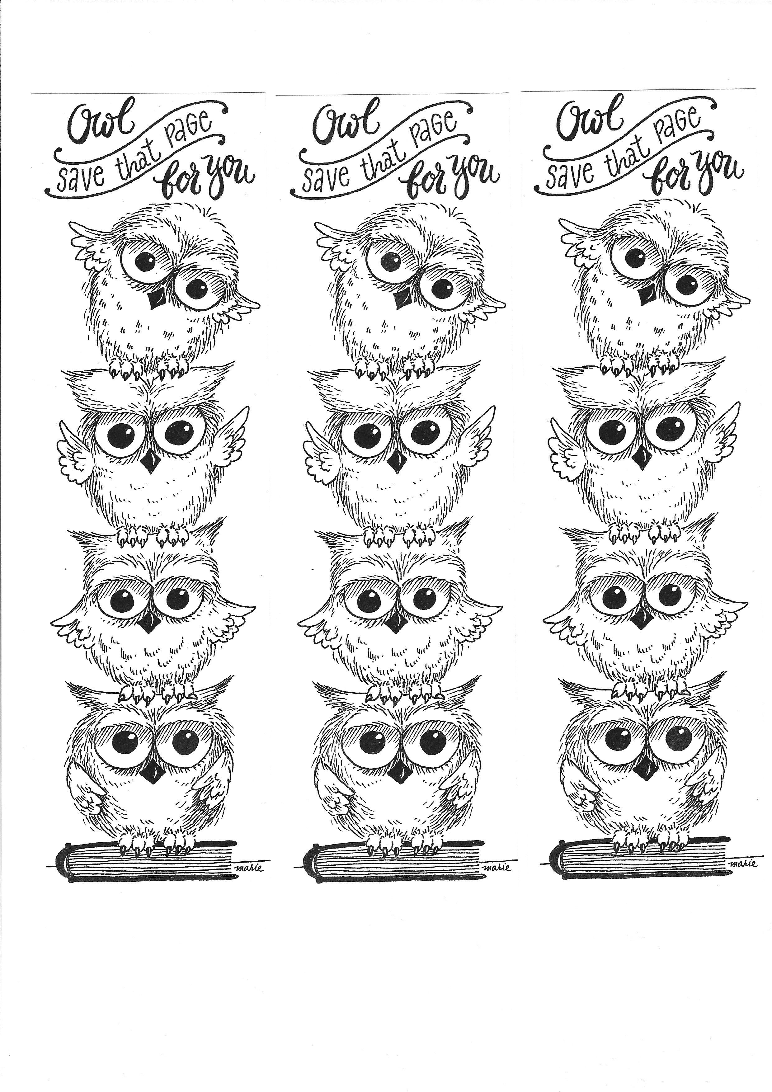 Owl Bookmark Coloring Page illustrated by Marie Browning | Scuola ...