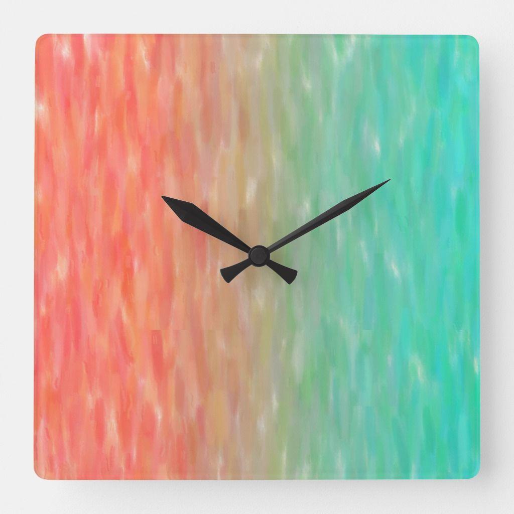 Coral Turquoise Ombre Watercolor Teal Orange Square Wall Clock Zazzle Com Clock Painting Orange Square Clock