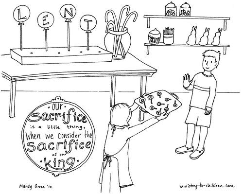 If Your Family Celebrates Lent This Coloring Page Might Be Helpful For The Kids Illustration Shows A Boy Passing On Candy Along With Text