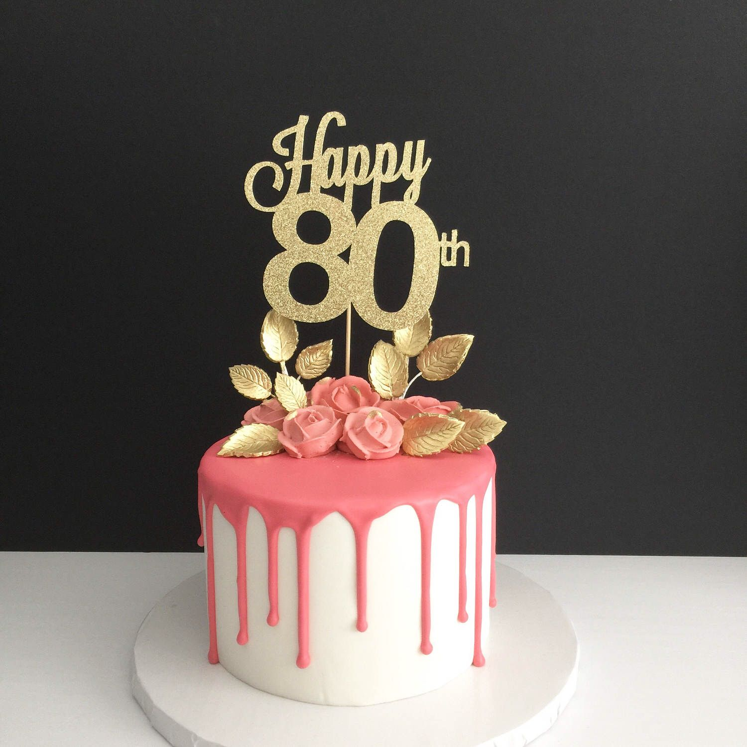 Any age 80th birthday cake topper happy 80th cake topper for 80th decoration