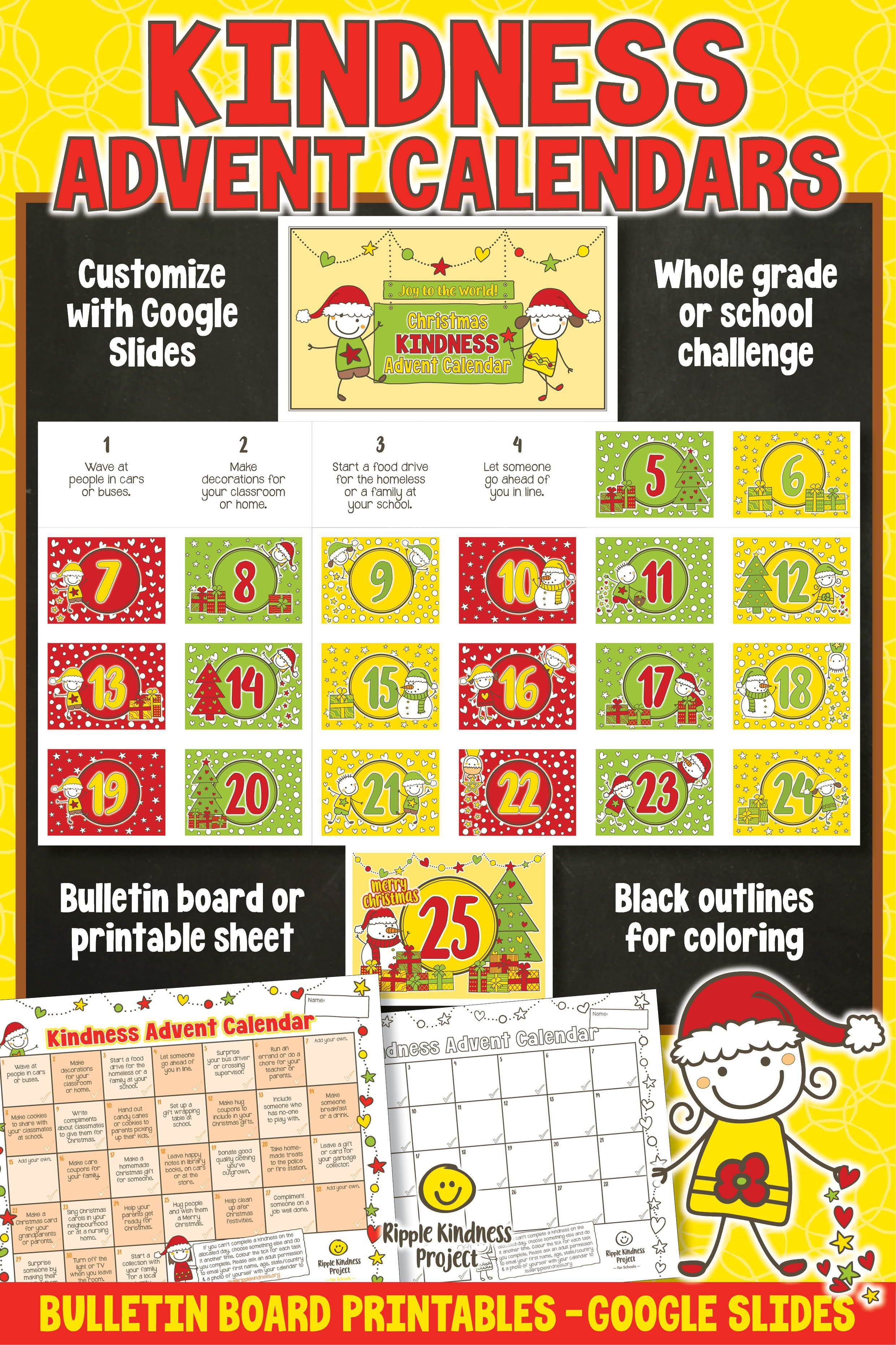 CHRISTMAS ADVENT CALENDAR Printable Kindness Activity Worksheets Bulletin  Board in 2020   Kindness activities [ 3721 x 2481 Pixel ]