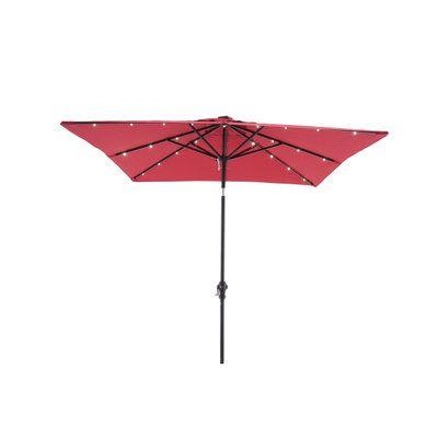 Hampton Bay 9 Ft Rectangular Aluminum Solar Patio Umbrella In