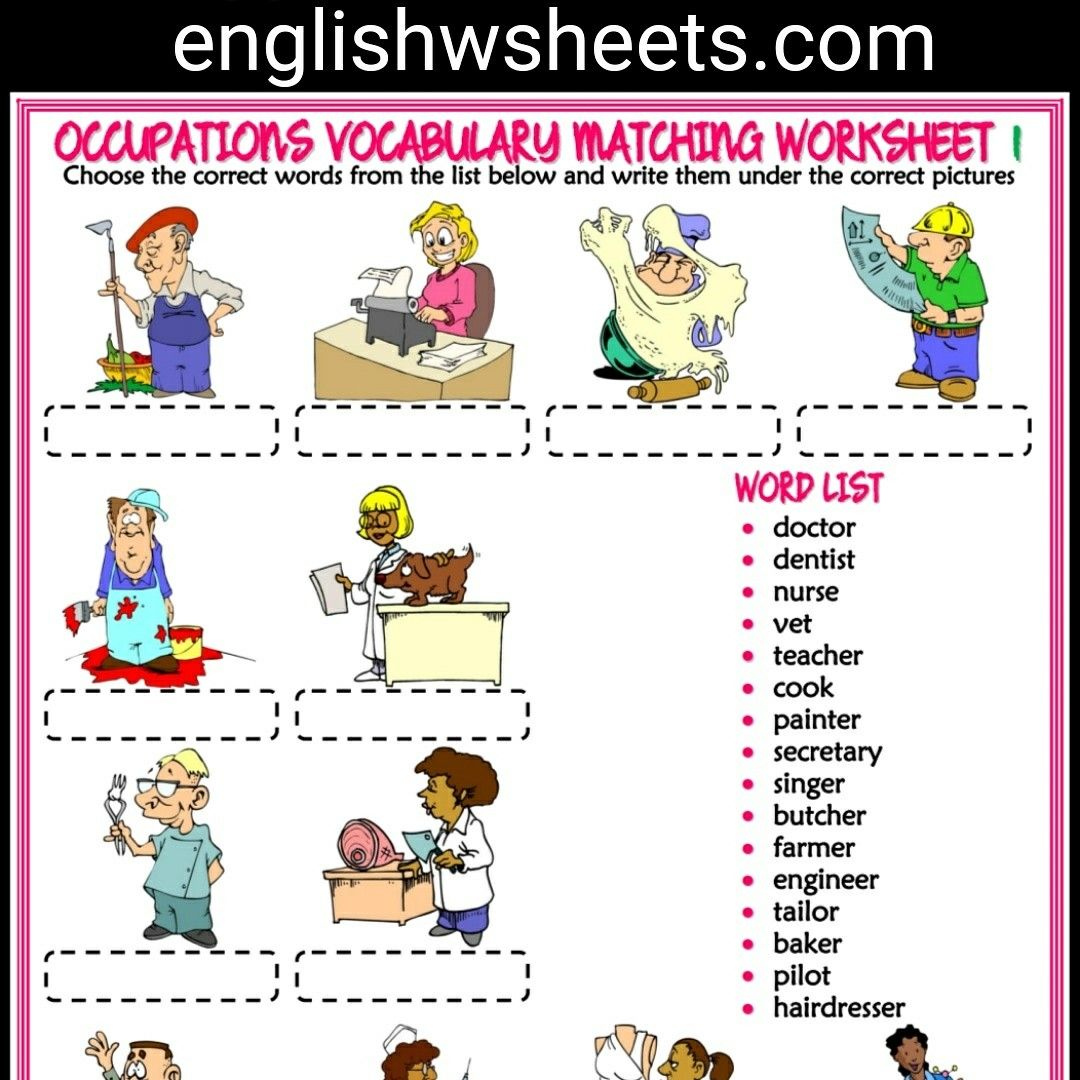 Jobs Esl Printable Vocabulary Worksheets