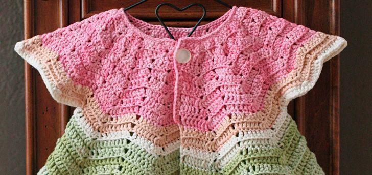 da9df7422 Návod na chutný háčkovaný svetrík pre bábätko | Háčkované kabátiky ...