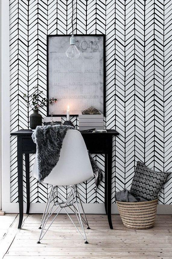 Dark Gray Herringbone Wallpaper