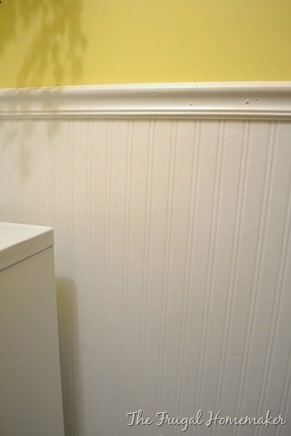 Beadboard Wallpaper Not The Yellow Paint Of Course Wallpaper Is Much Cheaper And Easier To Install Than Real Beadboard Wallpaper Wainscoting Diy Wainscoting