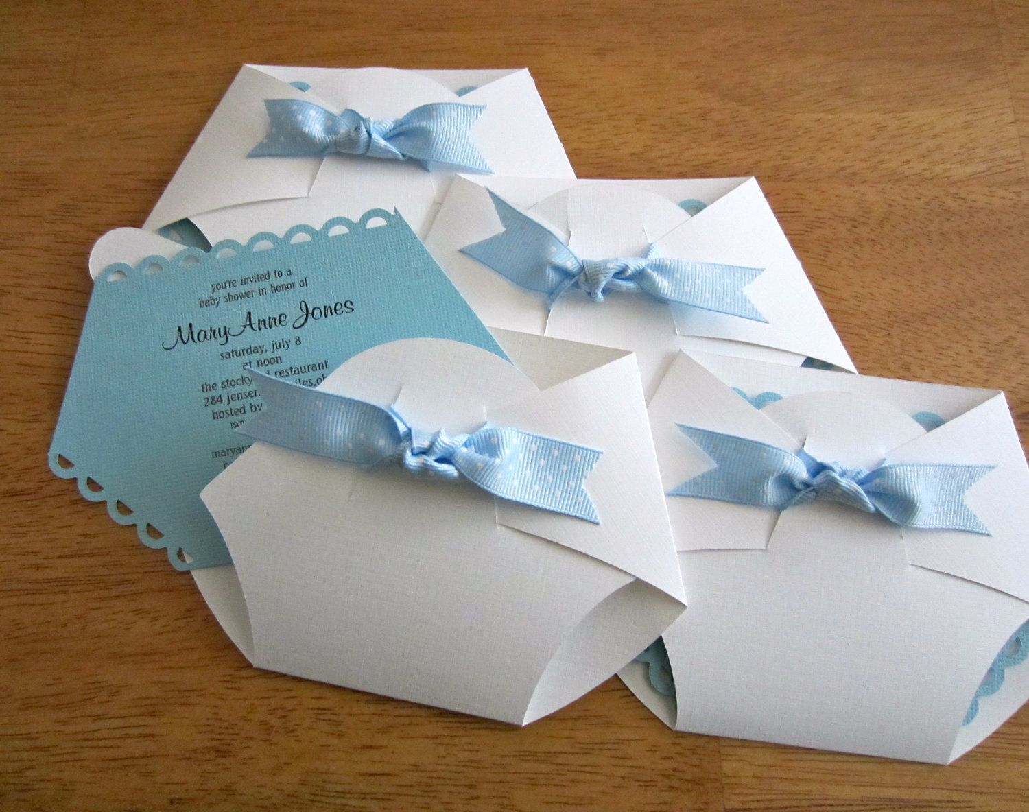 Handmade Baby Shower Invitation Diaper Shape Stampin Up Cards