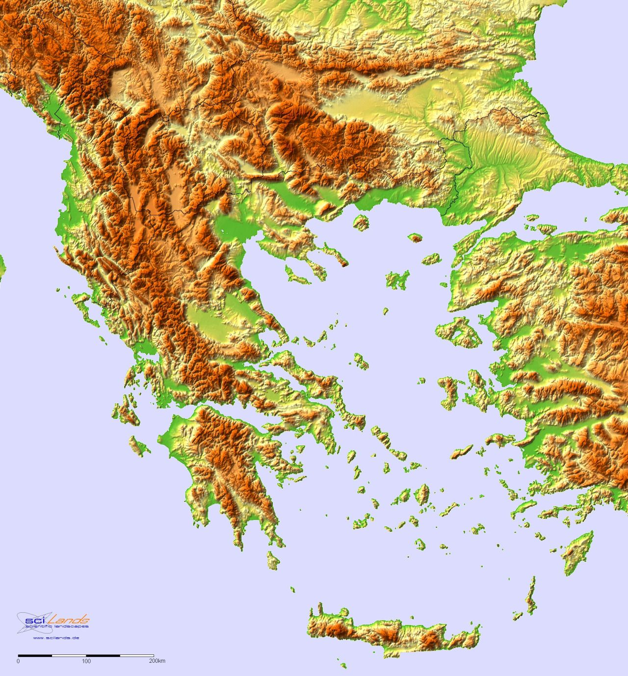 Topographic hillshade map of Balkan Peninsula. More relief maps ...