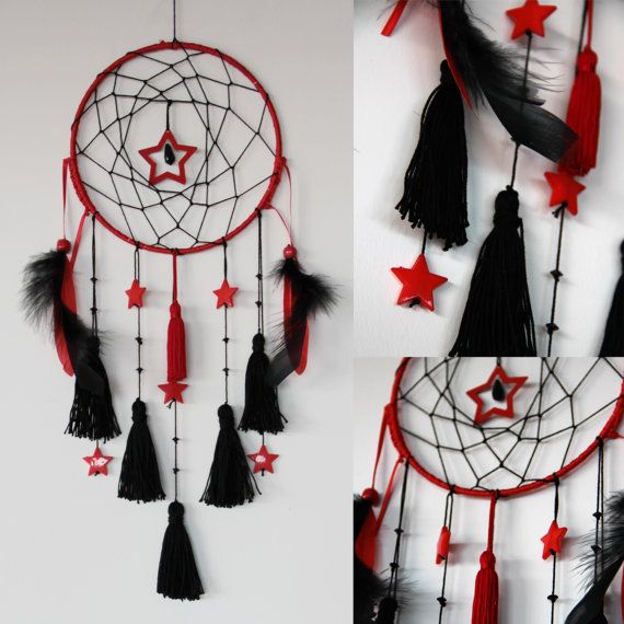 dreamcatcher attrape r ves rouge et noir par bidouillart. Black Bedroom Furniture Sets. Home Design Ideas