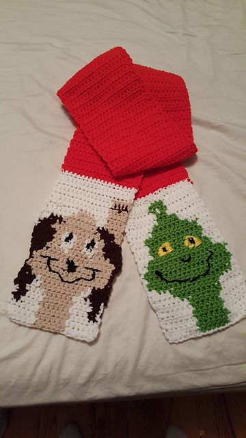 Ravelry: Grinch and Max Scarf pattern by Michelle Brooks #grinchscarfcrochetpatternfree