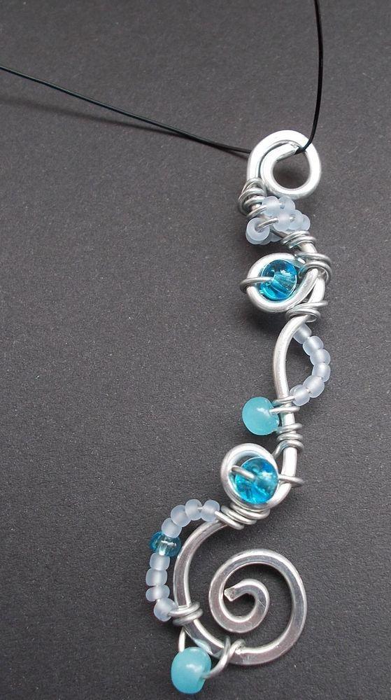 Blauer Glas Perlen Elfenreise Draht Schmuck/ Unikat Fee Handarbeit ...