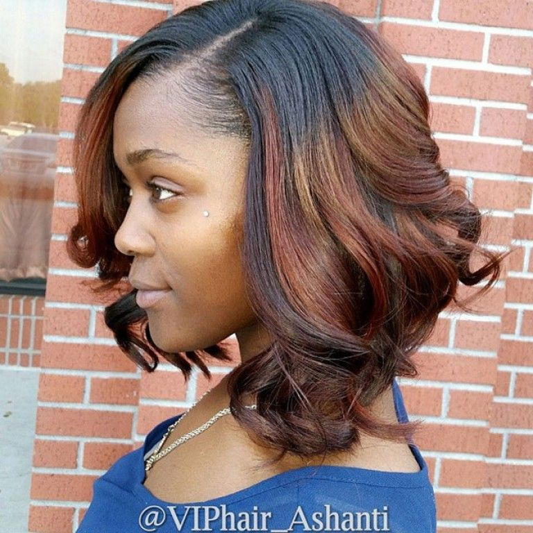 African American Messy Curly Darkt O Red Ombre Bob Hairstyle