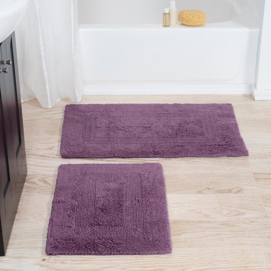 Hastings Home Cotton Bath Mat Set 2 Piece 100 Percent Cotton Mats Reversible Soft Absorbent And Machine Washable Bathroom Rugs By Hastings Home Eggplant L In 2020 Bath Rugs Sets Reversible [ 900 x 900 Pixel ]