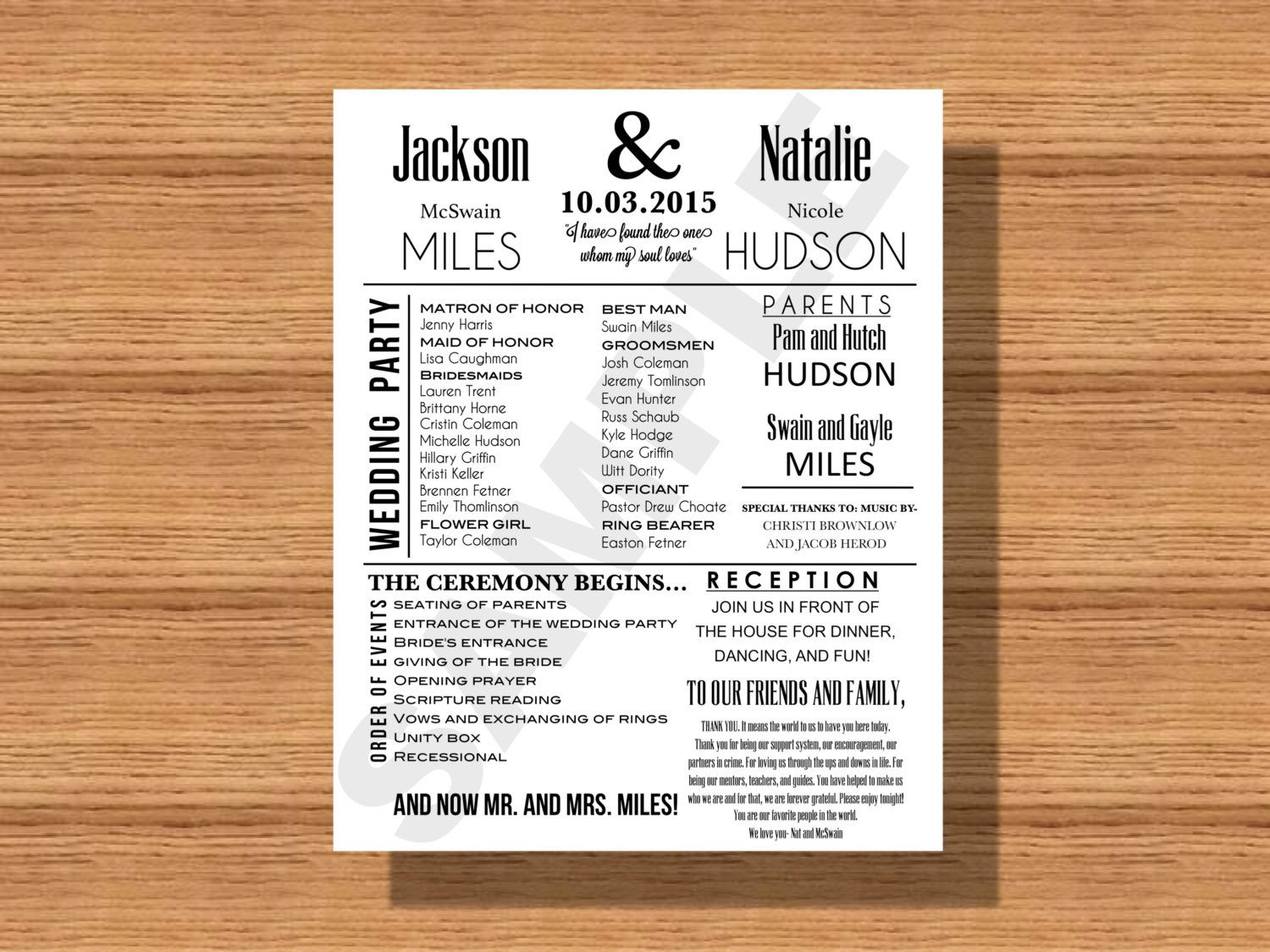 modern wedding program with thank you note bridal party