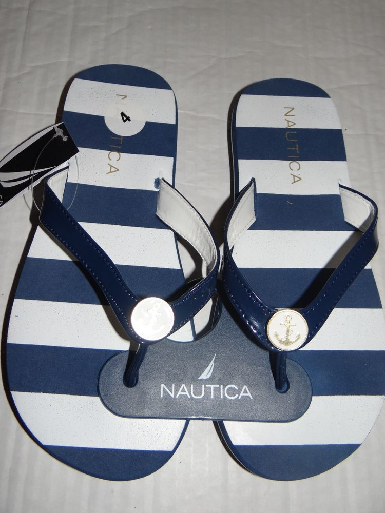 fd977c8ec66eb8 Nautica Women s Navy White Striped Anchor Charm Clip Flip Flops Size ...