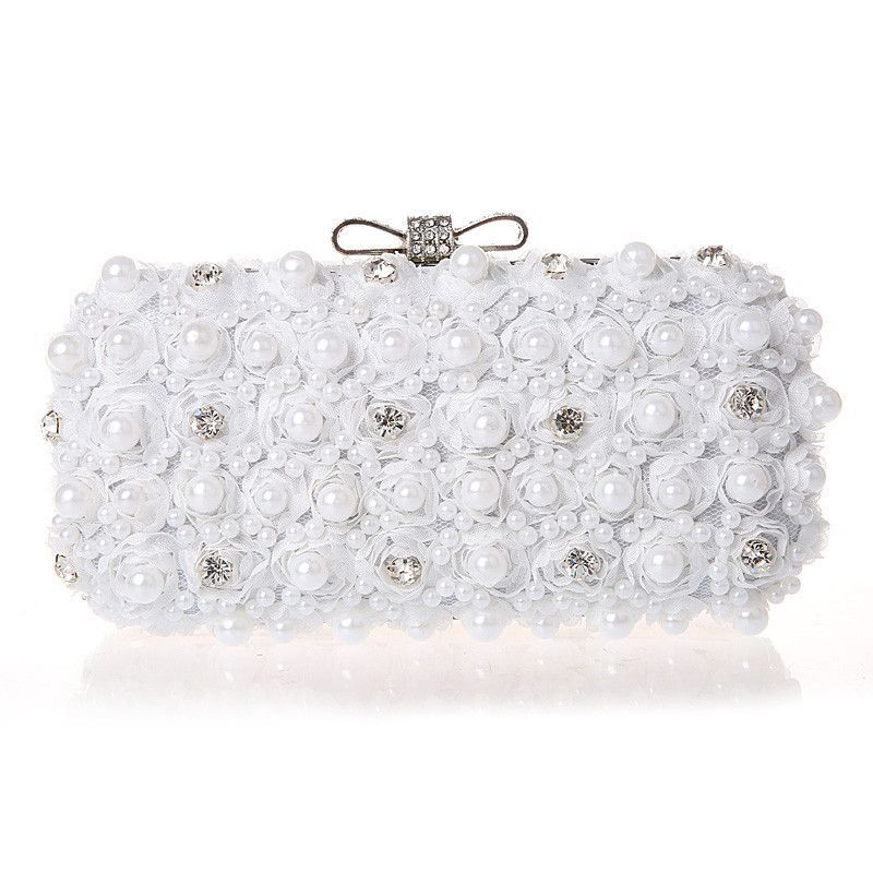 White Flowers Evening Hand Bag Noble Ladies Pearl Wedding Party Dressed  Clutch BagsRhinestone Bow Mini Purse bolsos mujer XA40H 020acca056e4