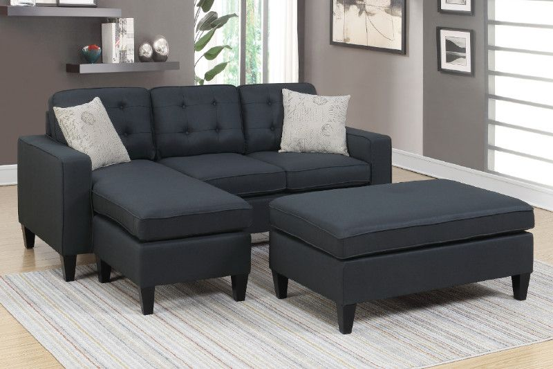 2 Pc Daryl Black Linen Like Fabric Reversible Chaise Sectional