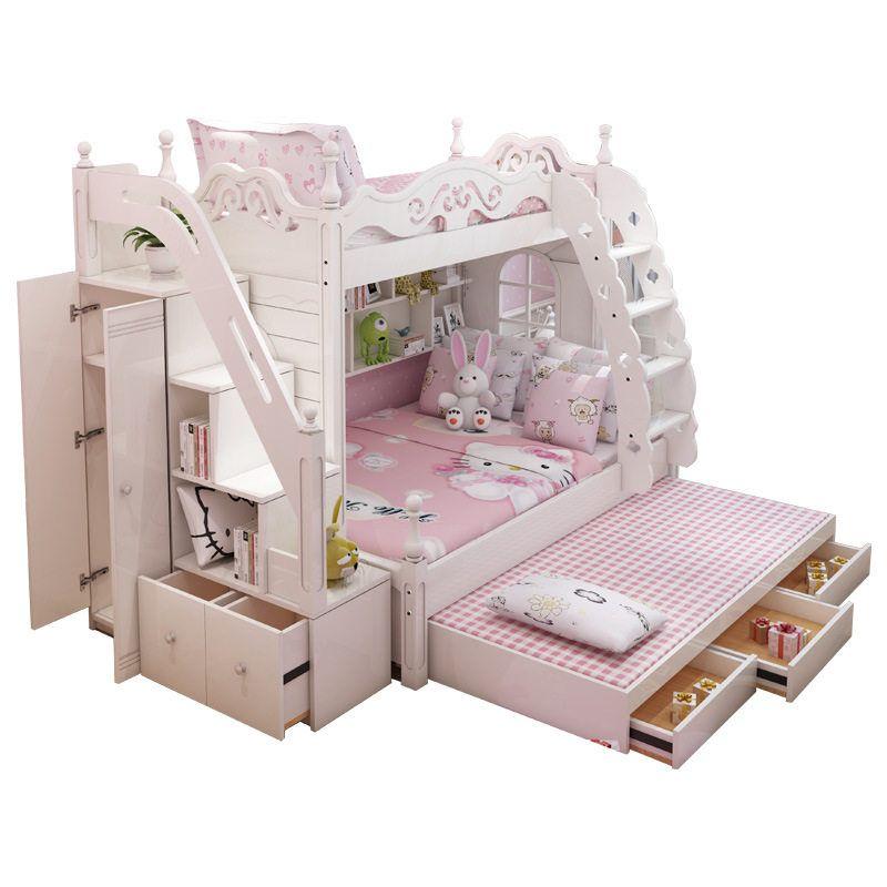 Online Shop European Princess Children Bedroom Furniture Double Bunk Bed Pine Wooden Ladder Aliexpress Mobile Kid Beds Bunk Beds Wood Bunk Beds