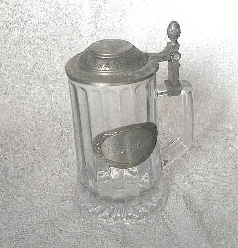 Heavy Clear Glass Beer Mug Large 7 Tall Including Silver Plated