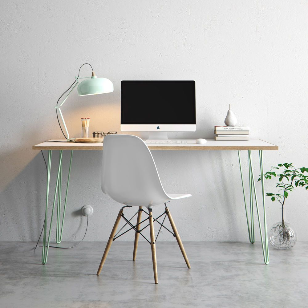 Details about Hairpin Desk & Dining Table - Formica Birch