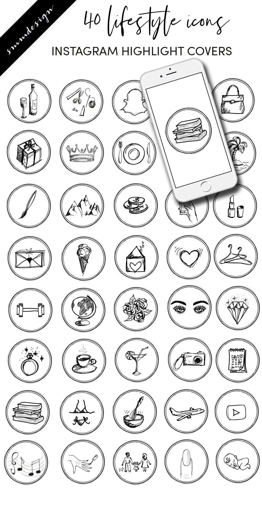 Instagram story highlight icons lifestyle, hand drawn