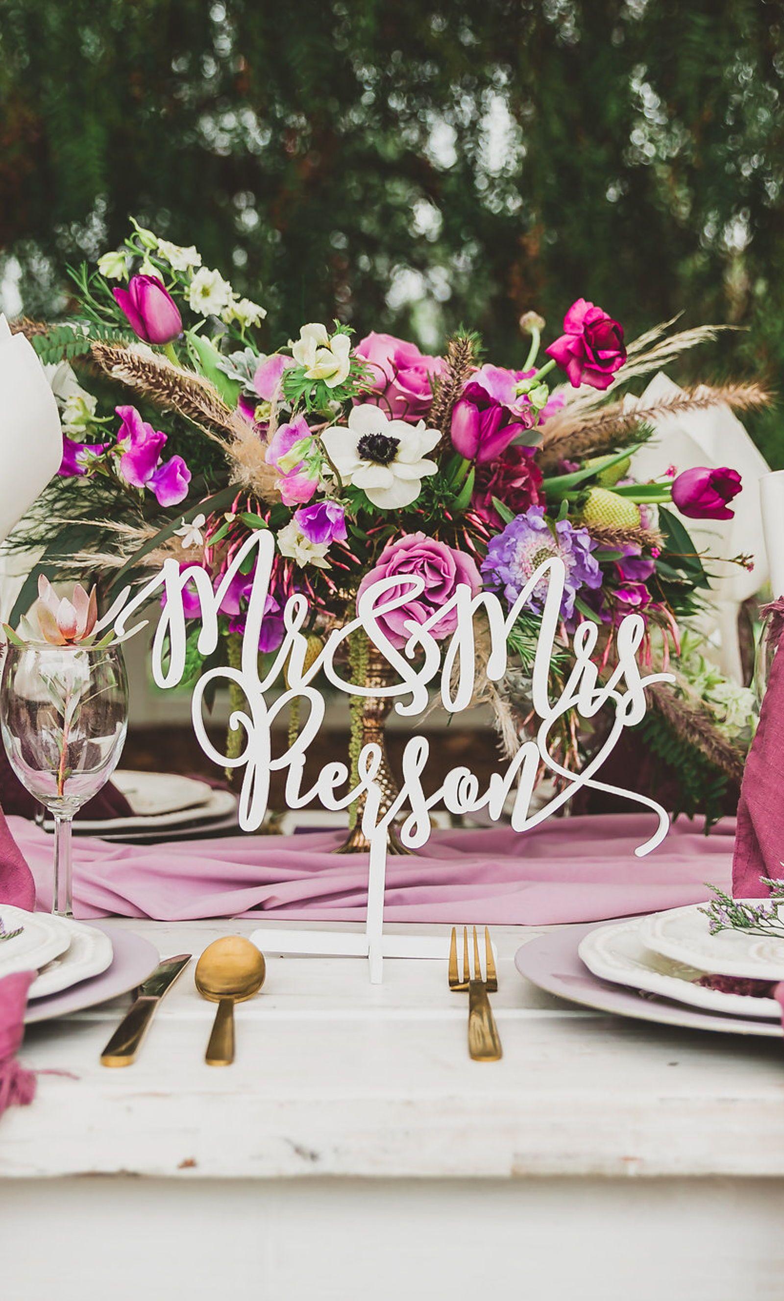 Mr Mrs Name Sign For Wedding Table Decor Handmade Wedding